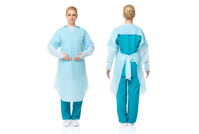 Disposable Impervious CPE Gowns with Thumb Hook Open Back