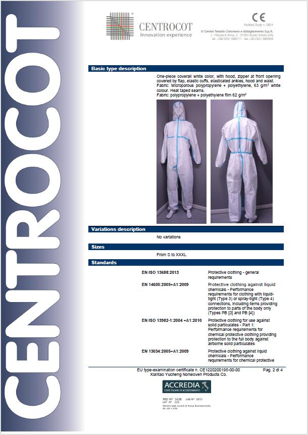 Disposable Protective Clothing Coveralls CE