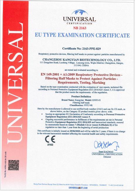 KN95 Mask CE Certificate