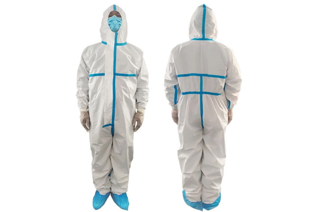 Medical Microporous Coverall with Adhesive Tape