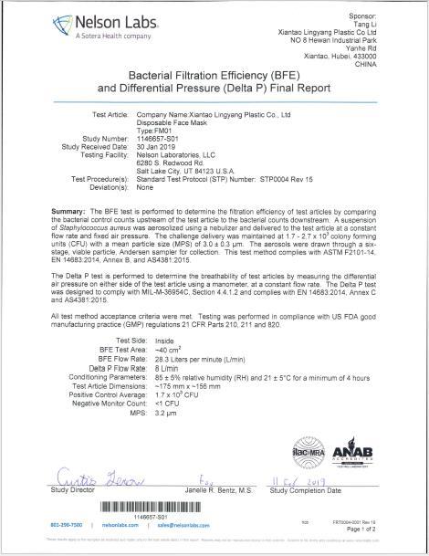 Nelson Labs Test Report EN14683