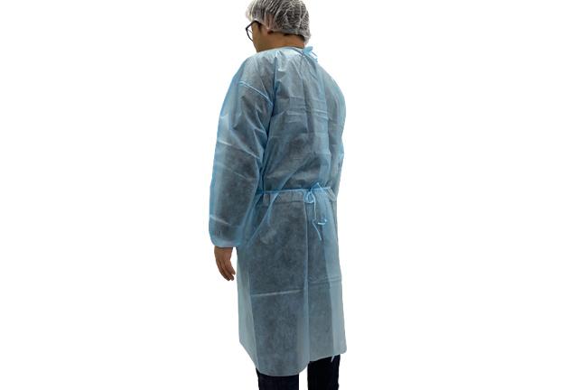 Blue Non Woven Isolation Gown with Tie-back, Disposable Visitor Gown TNT, Ropa desechable, Bata de aislamiento, Vestido de visitante