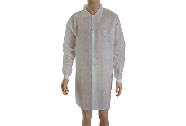 Non woven lab coat visitor coat knitted cuff