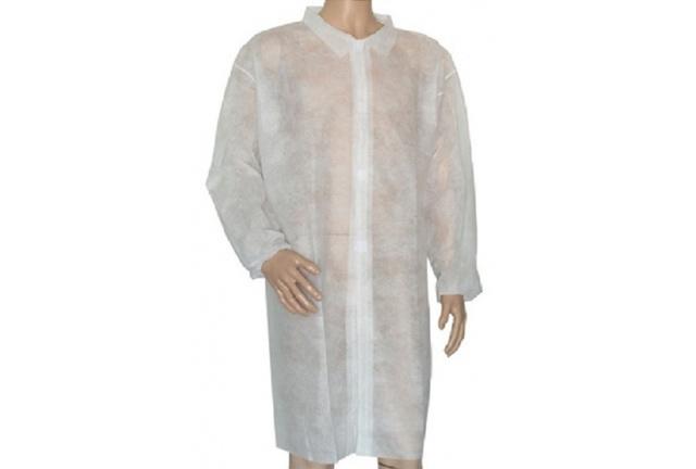 Disposable Polypropylene Non Woven Lab Coat, Visitor Coat, Velcro closure