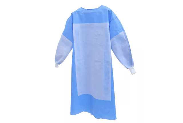 Reinforced SMS Surgical Gown Impervious Knitted Cuff Blue