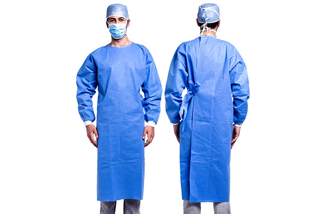 SMS Surgical Gown Knitted Cuffs Blue