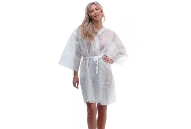 SPA Disposable Kimono White, Kimono TNT bianca, Kimono desechable Blanco