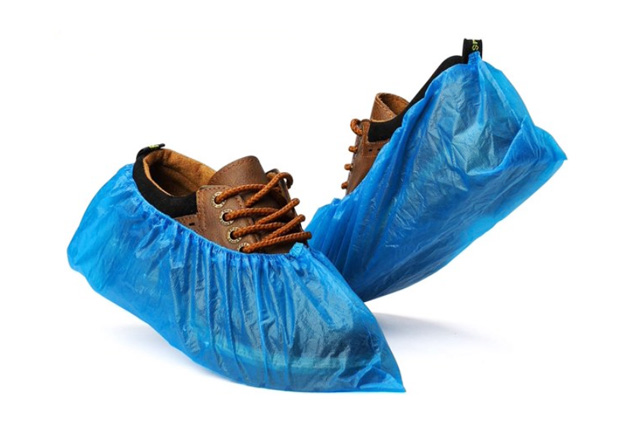 Disposable Blue CPE Shoe Cover Machine made, Disposable CPE Overshoes, Cubre Zapatos Desechable